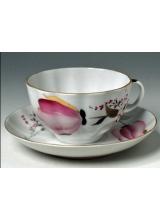 "Чашка с блюдцем чайная ""Розовые тюльпаны"" форма ""Тюльпан"""