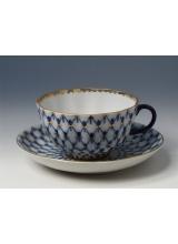 """Чашка с блюдцем чайная """"Кобальтовая сетка"""" Тюльпан"""