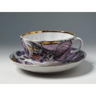 """Чашка с блюдцем чайная """"Времена года"""" форма Тюльпан"""