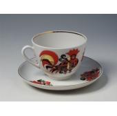 """Чашка с блюдцем чайная """"Красные петушки"""" форма Весенняя"""
