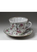 """Чашка с блюдцем чайная """"Цветущие веточки"""" форма """"Лучистая""""."""