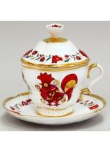 """Чашка с блюдцем и с крышкой чайная """"Сувенир"""" форма Подарочная-2"""