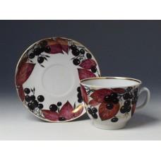 """Чашка с блюдцем чайная """"Черноплодная рябина"""" форма """"Подарочная"""""""