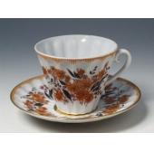 """Чашка с блюдцем чайная """"Осенние цветы"""" форма """"Лучистая"""""""
