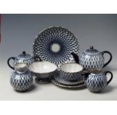 """Сервиз чайный """"Кобальтовая сетка"""" форма """"Тюльпан"""" на 6 персон 20 предмета"""