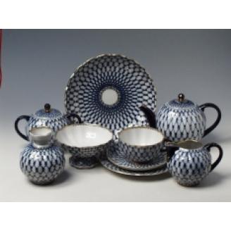 """Сервиз чайный """"Кобальтовая сетка"""" форма """"Тюльпан"""" на 6 персон 23 предмета"""