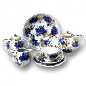 """Сервиз чайный """"Золотой сад"""" форма """"Тюльпан"""" на 6 персон 20 предметов."""
