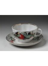 """Чашка с блюдцем чайная """"Красное яблоко"""" форма Тюльпан"""
