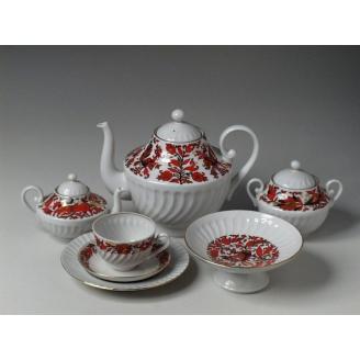 """Сервиз чайный """"Яркий"""" форма """"Витая"""" на 6 персон 22 предмета."""