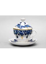 """Чашка с блюдцем и с крышкой чайная """"Ландыши"""" форма Подарочная-2"""