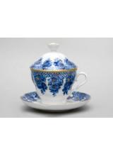 """Чашка с блюдцем и с крышкой чайная """"Гирлянда"""" форма Подарочная-2"""