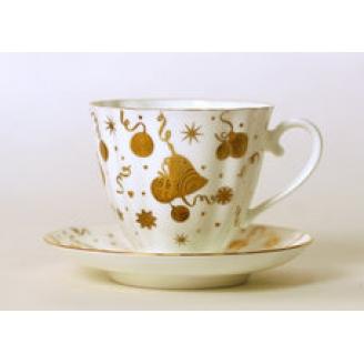 """Чашка с блюдцем чайная """"Веселый праздник"""" Форма """"Гвоздика"""""""
