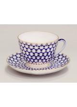 """Чашка с блюдцем чайная """"Кобальтовая сетка"""" Весенняя"""