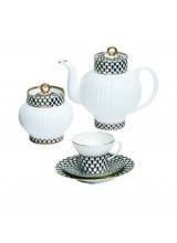 """Сервиз чайный""""кобальтовая сетка"""" форма """"волна"""" на 6 персон 14 предметов"""