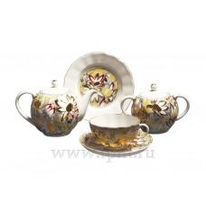 """Сервиз чайный """"Золотые ромашки"""", форма Тюльпан на 6 персон 20 предметов"""