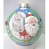 "Шар D=85 мм ""Дед Мороз с лошадкой"""