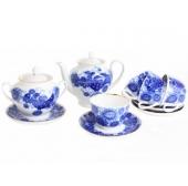 """Сервиз чайный """"Кобальтовое кружево"""" форма """"Весенняя"""" на 6 персон 15 предметов."""