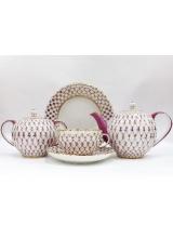 """Сервиз чайный """"Сетка блюз"""" форма тюльпан на 6 персон 20 предметов."""