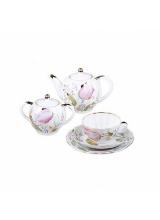 """Сервиз чайный """"Розовые тюльпаны"""" форма """"Тюльпан"""" на 6 персон 21 предмет (с сухарницей)."""
